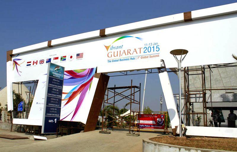Preparations for Pravasi Bhartiya Diwas and Vibrant Gujarat Summit underway at the Mahatma Mandir in Gandhinagar on Dec 30, 2014.