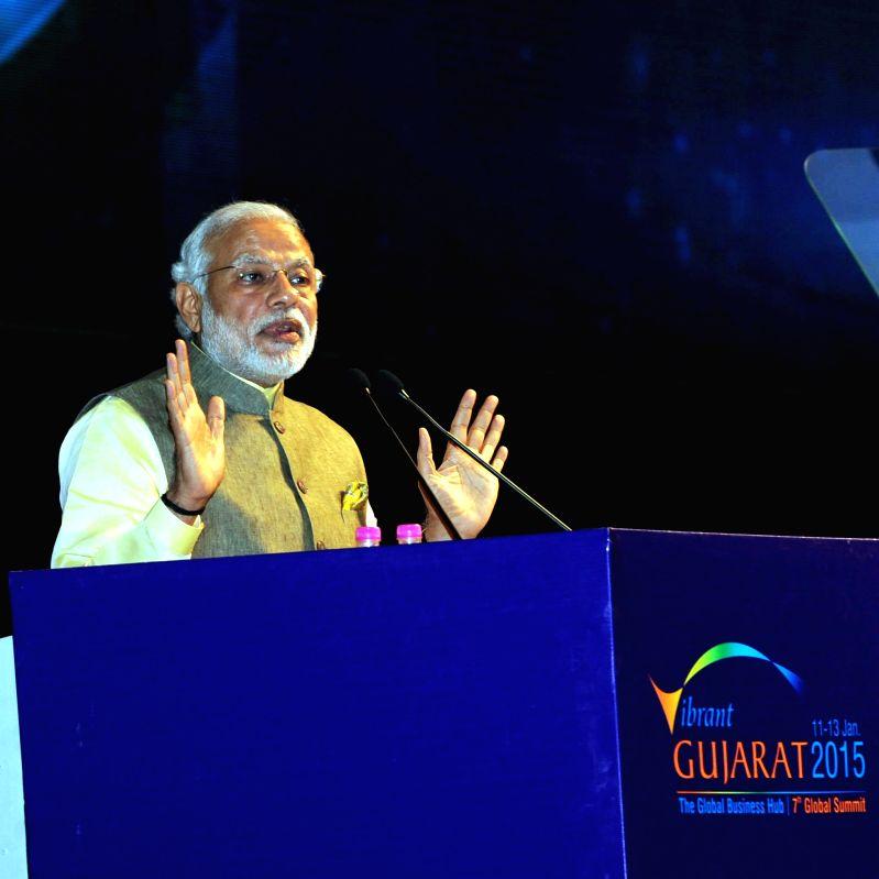 Prime Minister Narendra Modi addresses at the inauguration ceremony of the 7th Vibrant Gujarat Global Summit 2015, in Gandhinagar, Gujarat on Jan 11, 2015.