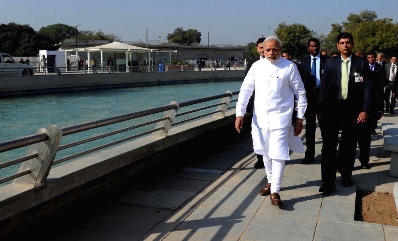 Prime Minister Narendra Modi at Mahatma Temple premises, in Gandhinagar on Jan 8, 2015. - Narendra Modi