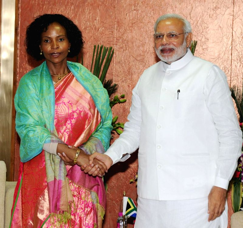 Prime Minister Narendra Modi meets the Minister of International Relations and Cooperation of South Africa, Maite Nkoana-Mashabane, in Gandhinagar, Gujarat on Jan 8, 2015. - Narendra Modi