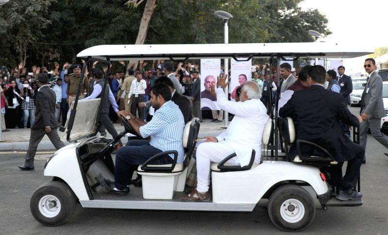 "Prime Minister Narendra Modi on a round of ""Vibrant Gujarat"" Global Trade Show, Exhibition Venue, in Gandhinagar, Gujarat on Jan 8, 2015. - Narendra Modi"