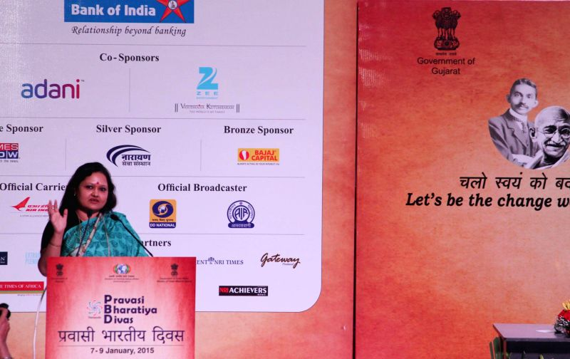 The Chairperson, World Organization of Student & Youth (WOSY), Dr. Rashmi Das addresses at the inaugural session of the Youth Pravasi Bharatiya Divas 2015, in Gandhinagar, Gujarat on