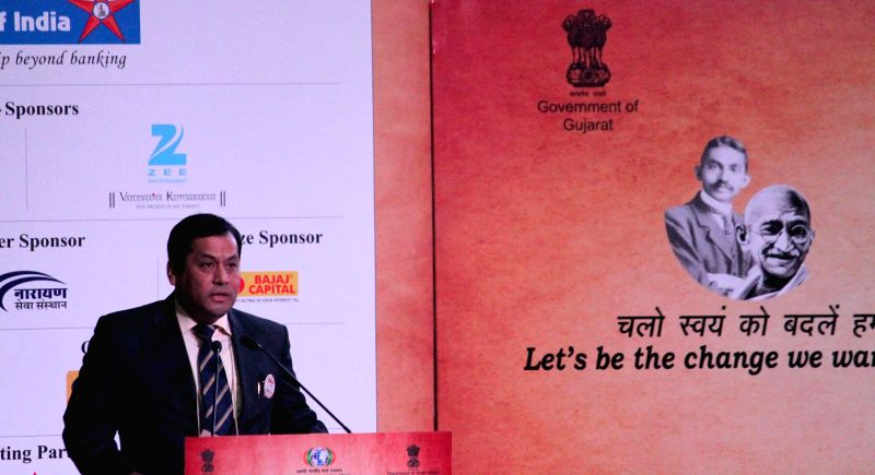 The Union Minister of State for Youth Affairs and Sports (Independent Charge), Sarbananda Sonowal delivers the keynote address at the inaugural session of the Youth Pravasi Bharatiya ...