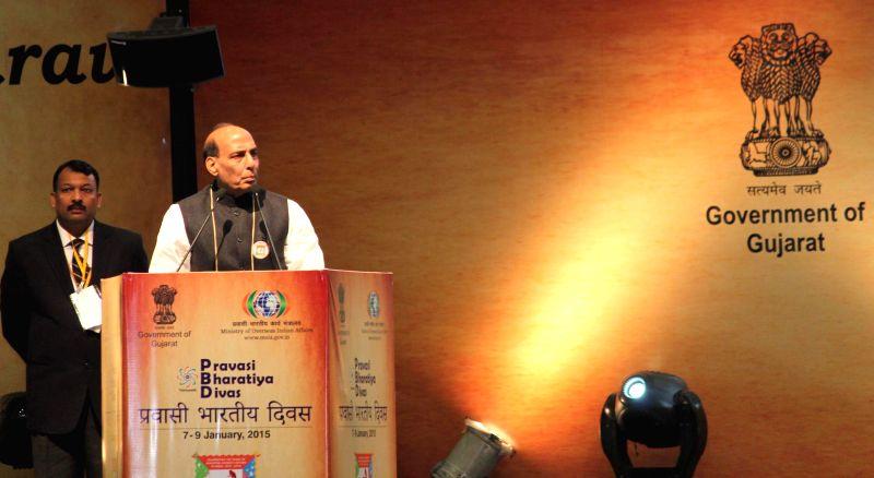 Union Home Minister Rajnath Singh addresses at the CMs Session of the Pravasi Bharatiya Divas 2015, in Gandhinagar, Gujarat on Jan 9, 2015.