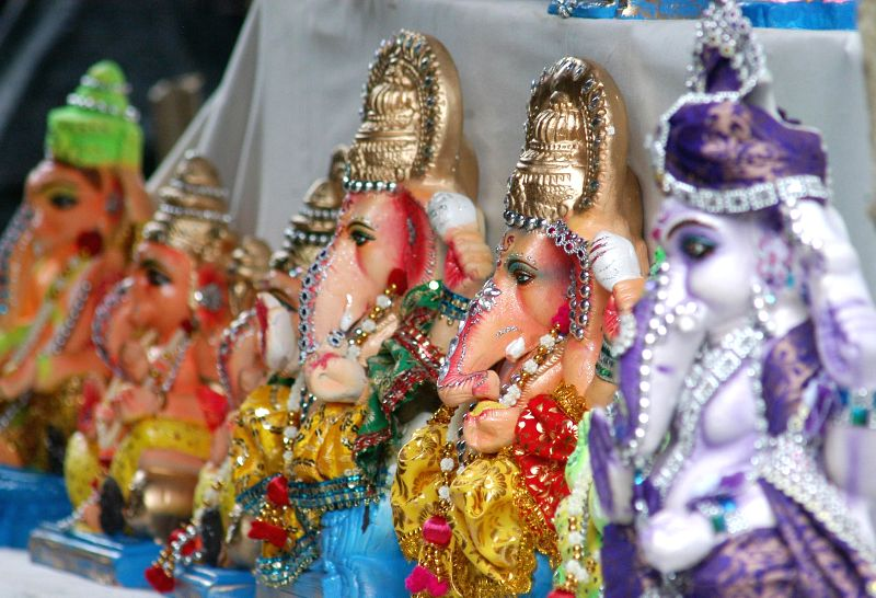 Ganesh idols at a Kumartuli workshop ahead of Ganesh Chaturthi in Kolkata on Aug 25, 2014.