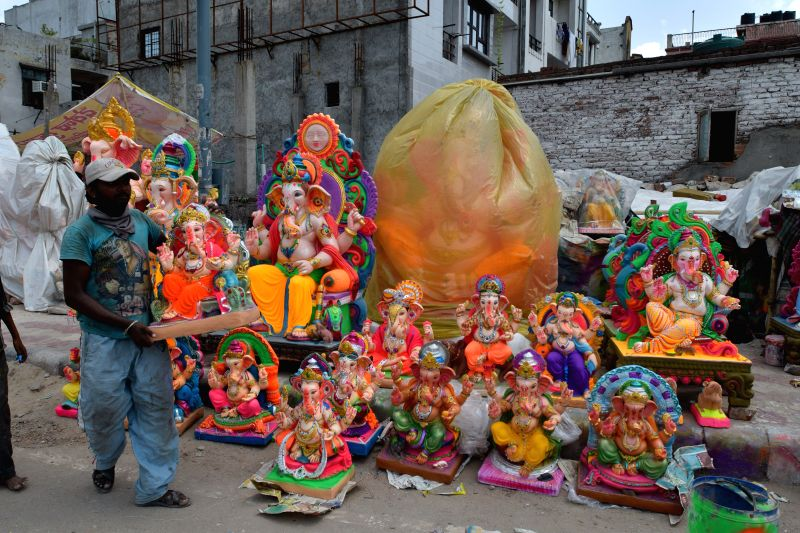 Ganesh idols at a makeshift workshop ahead of Ganesh Chaturthi in New Delhi on Aug 17, 2014.