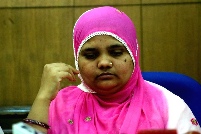 Gang-rape victim Bilkis Bano during a press conference in New Delhi, on May 8, 2017.  Bano was 19 years old and pregnant when she was subjected to the horror during the 2002 Gujarat riots.