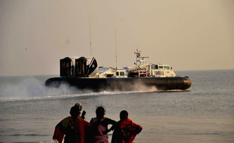 A hovercraft approaches the Gangasagar island some 160 km south of Kolkata on Jan 13, 2015.
