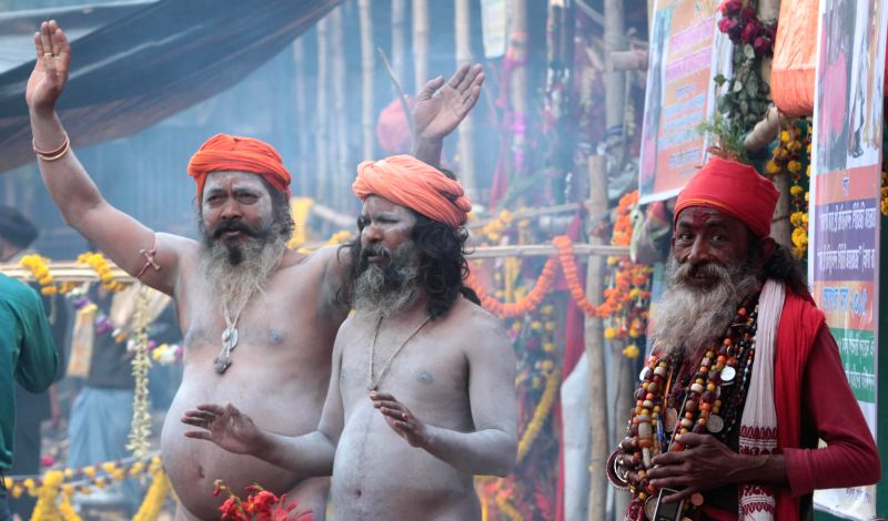 Ascetics arrive at Babughat in Kolkata ahead of Gangasagar, on Jan 9, 2015.