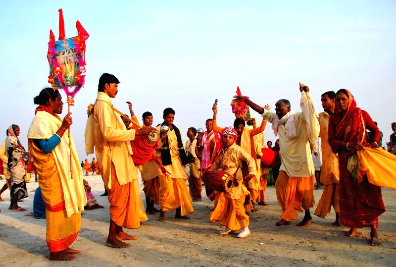 Devotees at the  Gangasagar island, some 160 km south of Kolkata on Jan 13, 2015.