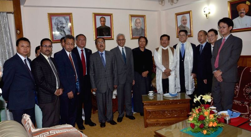 A chinese delegation led by Ambassador of People's Republic of China in India Le Yucheng calls on the Sikkim Chief Minister Pawan Chamling at his official residence in Gangtok, on June 21, ... - Pawan Chamling