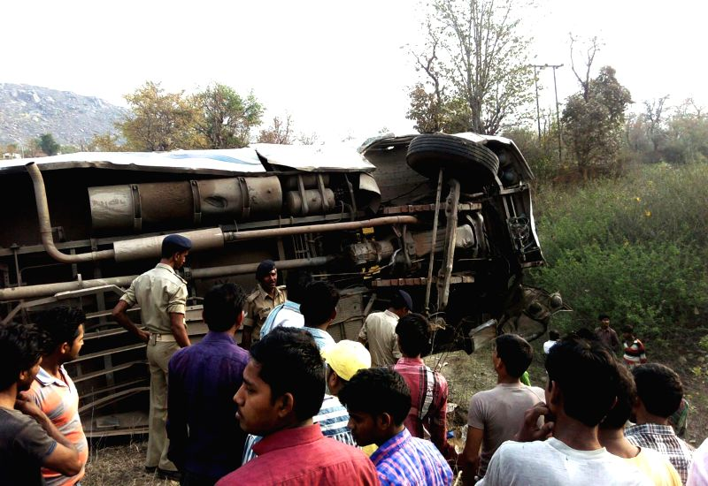 A view of the passenger bus that fell in a ditch at Annaraj near Garhwa in Jharkhand on March 30, 2015. Reportedly 11 people were killed and 26 others injured in the accident. The bus was ...