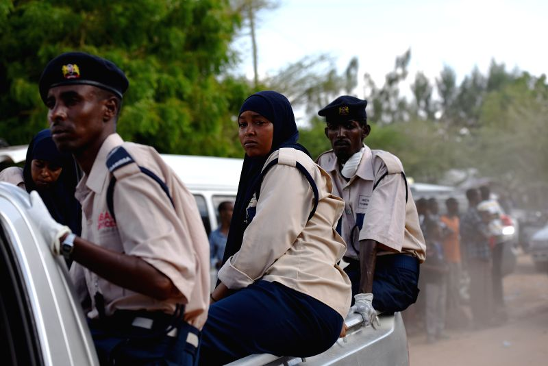 Garissa's local police drive to the Moi University campus in Garissa, Kenya, April 03, 2015. A day-long siege of a Kenyan university campus by gunmen on Thursday ... - Joseph Nkaissery