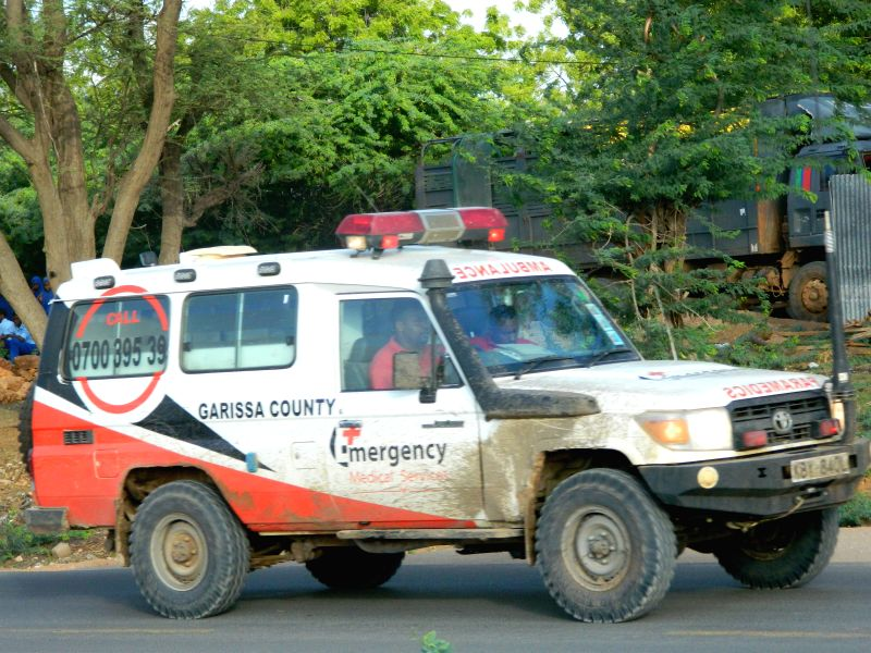 An ambulance rushes to hospital in Garissa, Kenya, April 2, 2015. At least 15 people have been confirmed dead and 65 others injured after gunmen stormed a ...