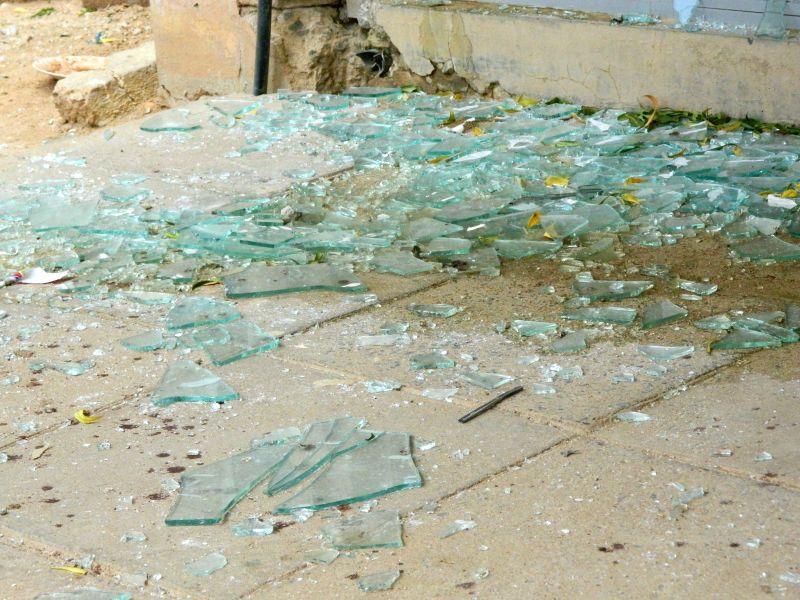 Photo taken on April 6, 2015 shows broken glasses after Al-Shabaab gunmen attacked the Garissa University College in Garissa, northeastern Kenya. At least 142 ...