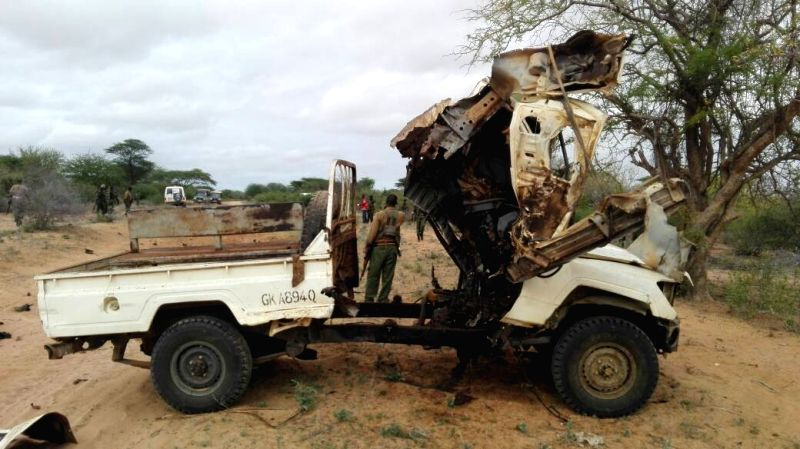 GARISSA, May 24, 2017 - Phone photo taken on May 24, 2017 shows the wreckage of a police vehicle at an explosion site in Garissa, Kenya. At least three police officers were killed and two others ...