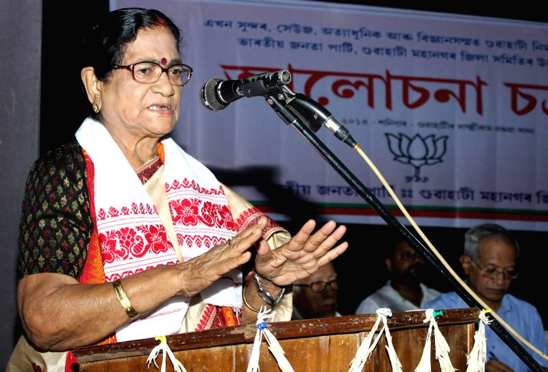 Gauhati MP and BJP leader Bijoya Chakraborty addresses during a seminar regarding beautification of Guwahati in the city on July 19, 2014.