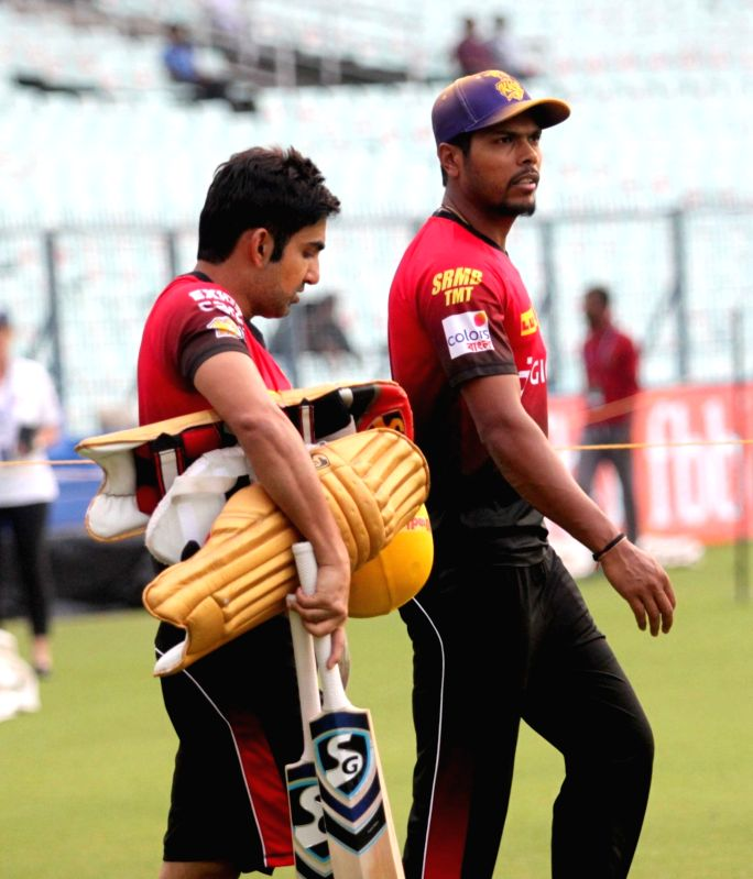 Gautam Gambhir and Umesh Yadav of Kolkata Knight Riders during a practice session in Kolkata on April 20, 2017. - Umesh Yadav