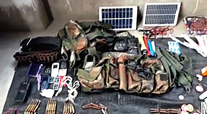 Gaya: A huge cache of arms and ammunition has been recovered from a forested area under Mohanpur police station in Gaya district on Oct 14, 2019. The seizures include two can bombs weighing up to 5 kg, 18 detonators, one rifle and some ammunition apa