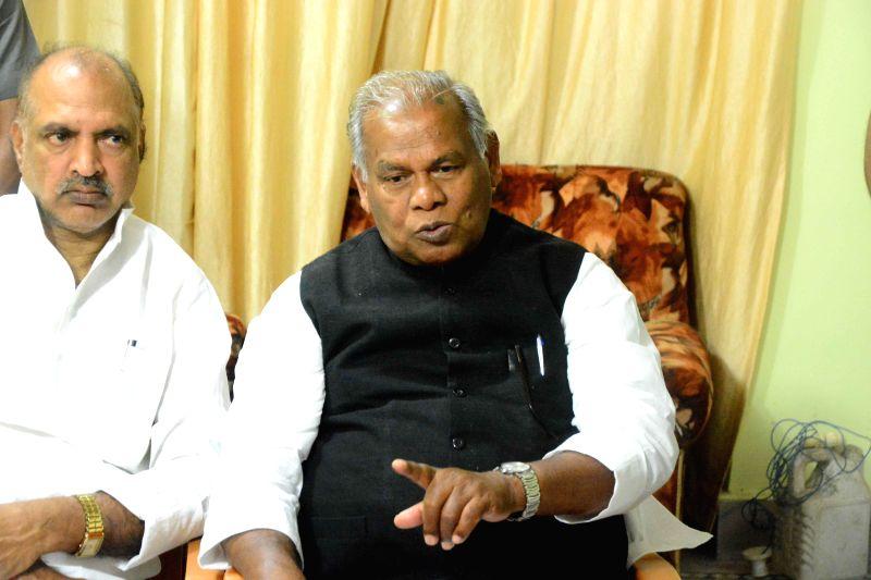 Hindustani Awam Morcha (HAM) leader Jitan Ram Manjhi addresses a press conference in Gaya, on March 19, 2015.