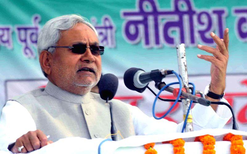 JD (U) leader Nitish Kumar addresses during a party programme in Gaya on Nov 26, 2014. - Nitish Kumar
