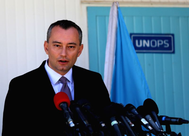 United Nations' new Middle East peace envoy, Nickolay Mladenov speaks during a press conference on April 30, 2015 in Gaza city. United Nations Middle East special ...