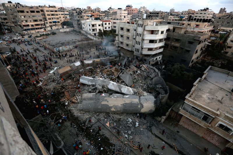 GAZA, Aug. 9, 2018 - Photo taken on Aug. 9, 2018 shows the rubble of a building following an Israeli airstrike in Gaza City. The Israeli war jets launched 12 successive airstrikes on a building in ...