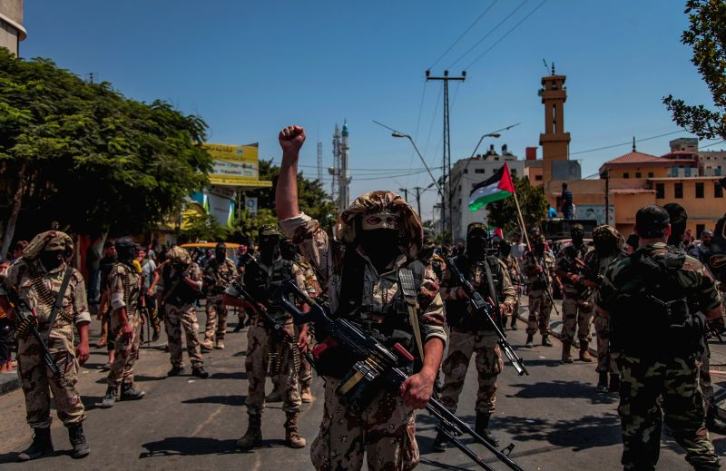 Palestinian militants from Islamic Jihad take part in a military parade following a ceasefire in Gaza City August 29, 2014.
