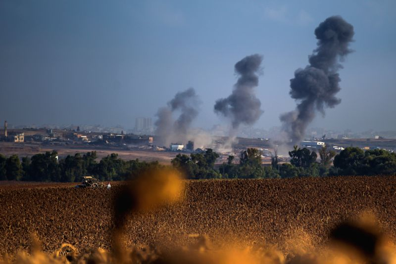 Smoke rises after Israeli army bombed the Beit Lahiya neighborhood in the north Gaza Strip, seen from southern Israel bordering the Gaza Strip, on Aug. 3, 2014. .