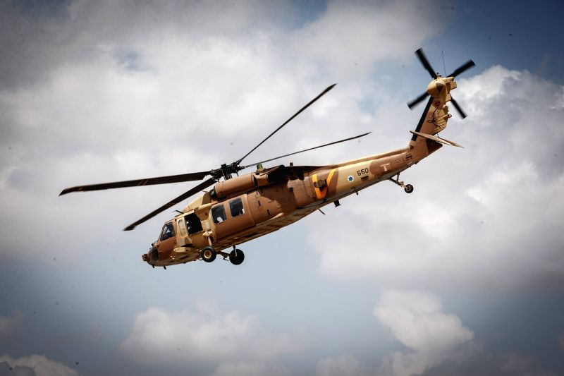 An Israeli helicopter carrying the Israel Defense Forces (IDF) Chief of Staff Banny Gantz lands at an army base in southern Israel near the border with Gaza, on