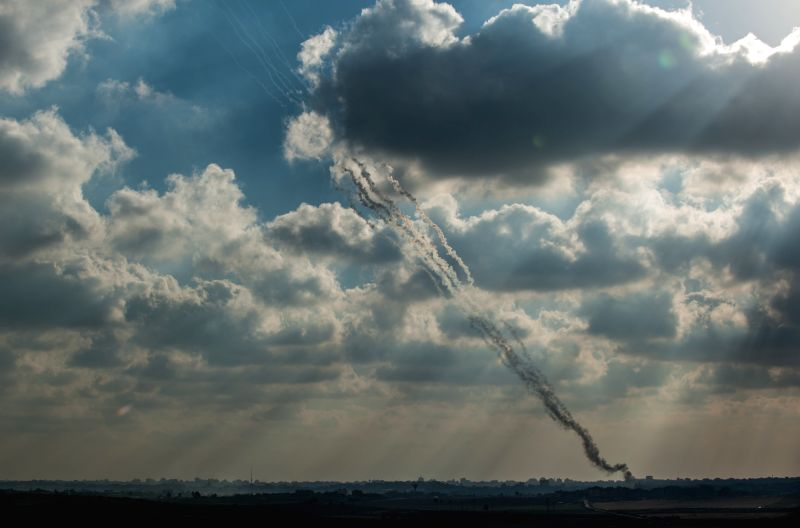 Rockets are fired from Gaza Strip towards Israel seen from an outpost in southern Israel near the border with Gaza, on July 19, 2014. Two Israeli soldiers were .