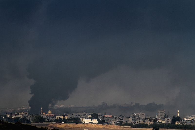 Smoke rises in the northern Gaza Strip, on the 15th day of Operation Protective Edge, on July 22, 2014. As the UN Secretary-General Ban Ki-moon is in Israel to .