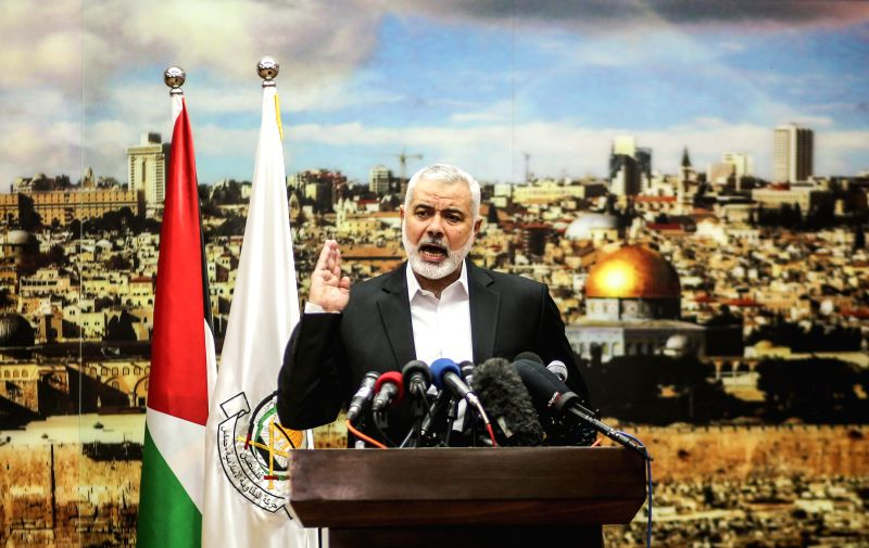 GAZA, Dec. 7, 2017 - Chief of the Islamic Hamas movement Ismail Haniyeh delivers a speech over the U.S. decision to recognize Jerusalem as the capital of Israel, in Gaza City on Dec. 7, 2017. Ismail ...