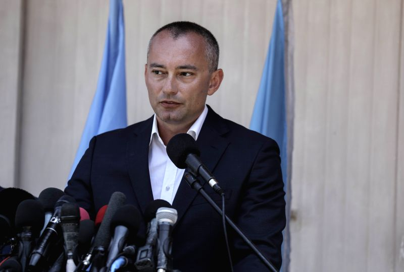 GAZA, July 15, 2018 - Nickolay Mladenov, UN special coordinator for the Middle East peace process, speaks during a press conference in Gaza City, on July 15, 2018. The United Nations special envoy on ...
