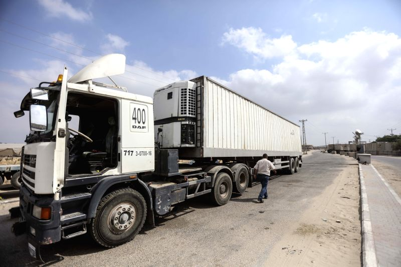 GAZA, July 17, 2018 - A truck is seen at the gate of the Kerem Shalom commercial crossing, the main passage point for goods entering Gaza, in the southern Gaza Strip city of Rafah, on July 17, 2018. ...