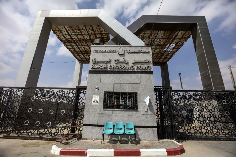 GAZA, July 17, 2018 - Photo taken on July 17, 2018 shows closed gate of Rafah border crossing with Egypt in southern Gaza Strip. Egypt announced to close the Rafah border crossing between Egypt and ...