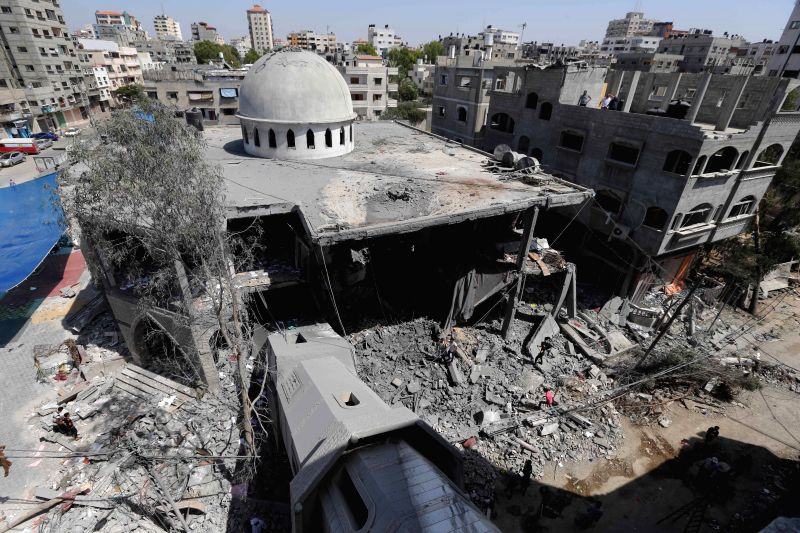 Photo taken on July 30, 2014 shows the damage of Al-Sousi mosque that was destroyed in an Israel strike, at the Shati refugee camp, in the northern Gaza City. The death