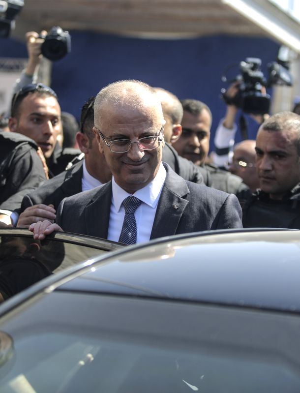GAZA, March 13, 2018 - Palestinian Prime Minister Rami Hamdallah arrives in Gaza City on March 13, 2018. An explosive went off Tuesday morning near the convoy of Palestinian Prime Minster Rami ... - Rami Hamdallah