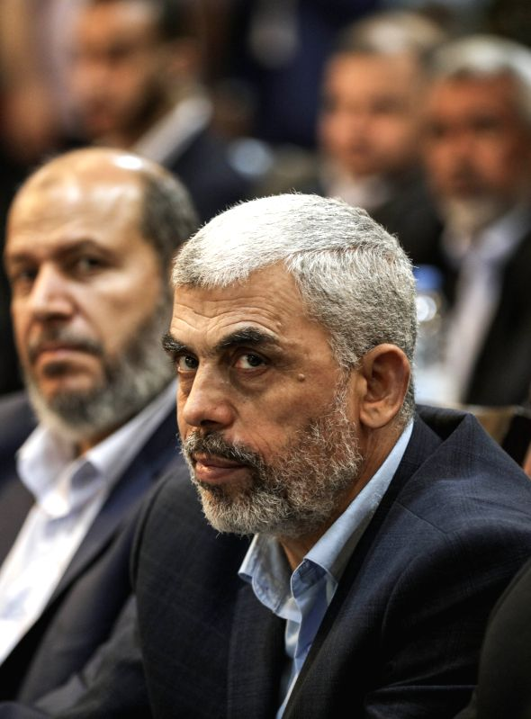 GAZA, May 2, 2017 - Gaza Strip's top Hamas leader Yehya al-Sinwar attends a gathering to watch the speech of Hamas chief Khaled Meshaal in Gaza City, on May 1, 2017. Islamic Hamas movement presented ...