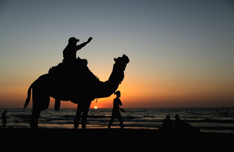 A man rides a camel at the Mediterranean Sea beach in Gaza city, May 2, 2014.