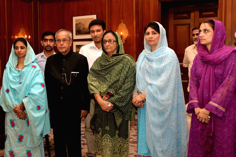 Geeta, a deaf-mute Indian woman who had been stranded in Pakistan for over a decade calls on President Pranab Mukherjee  in New Delhi, on Oct 27, 2015. - Pranab Mukherjee