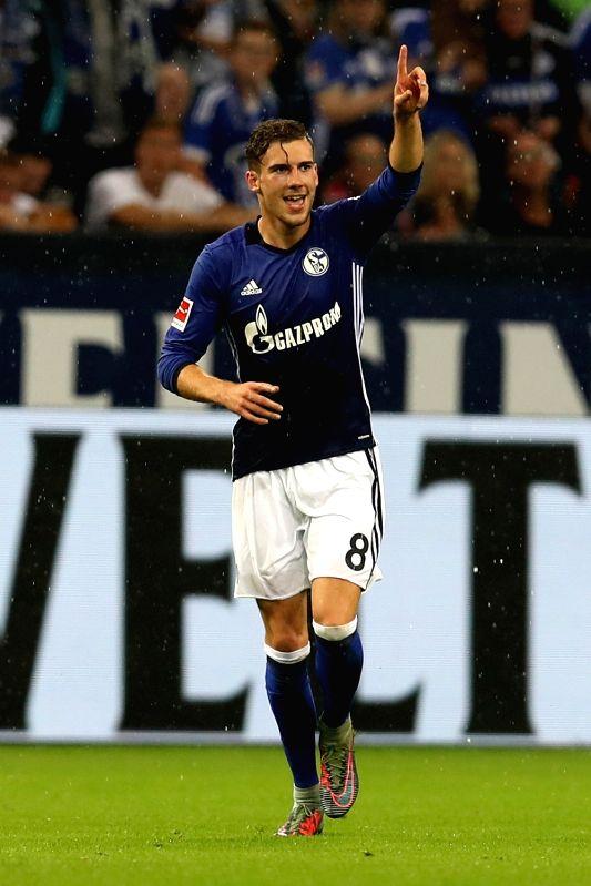 GELSENKIRCHEN, Sept. 30, 2017 - Leon Goretzka of Schalke 04 celebrates scoring during the German Bundesliga match between Schalke 04 and Bayer Leverkusen in Gelsenkirchen, Germany, on Sept. 29, 2017. ...
