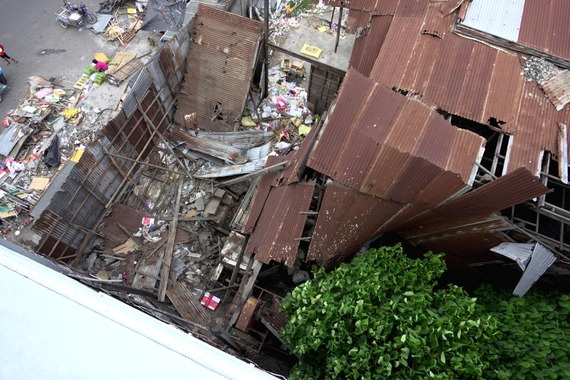GENERAL SANTOS CITY (PHILIPPINES), April 29, 2017 A collapsed roof is seen after a 7.1-magnitude earthquake in General Santos City, the Philippines, April 29, 2017. A 7.1-magnitude ...