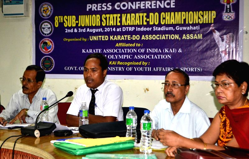 General Secretary of United KARATE-DO Association addresses a press conference regarding the 8th Sub-Junior State KARATE-DO championship in Guwahati on August 1, 2014.