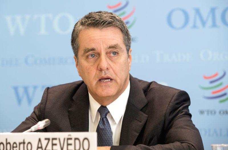 GENEVA, April 12, 2018 - The World Trade Organization (WTO) Director-General Roberto Azevedo addresses a press conference in Geneva, Switzerland, April 13, 2018. The World Trade Organization (WTO) ...