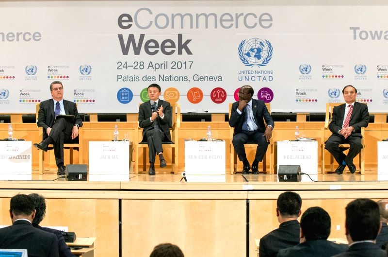 GENEVA, April 25, 2017 - Secretary General of the United Nations Conference on Trade and Development Mukhisa Kituyi (2nd R, Rear), Jack Ma (2nd L, Rear), chairman of Alibaba and special advisor of ...