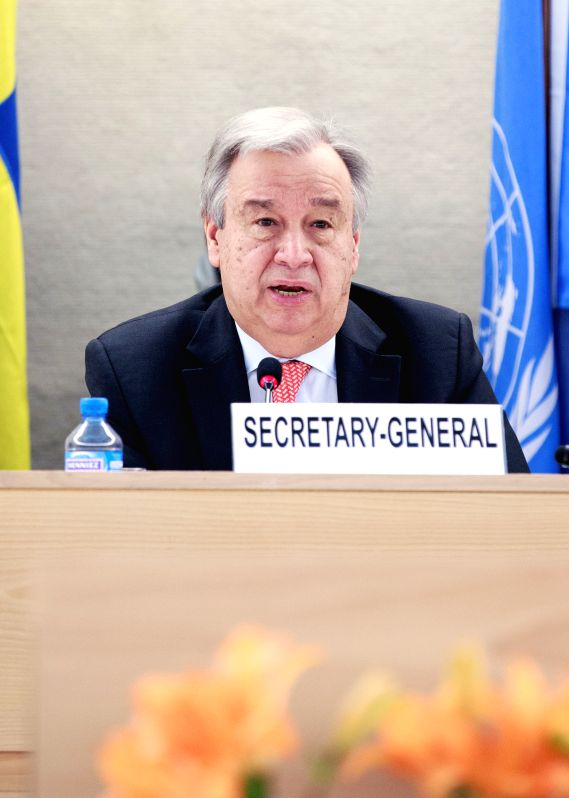 GENEVA, April 25, 2017 - The UN Secretary-General Antonio Guterres addresses a high-level pledging event for the humanitarian crisis in Yemen in Geneva, Switzerland, April 25, 2017. United Nations ...