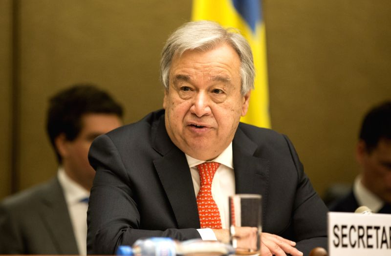 GENEVA, April 3, 2018 - UN Secretary-General Antonio Guterres delivers a speech during the High-Level Pledging Event for the Humanitarian Crisis in Yemen at Palais des Nations in Geneva, Switzerland, ...