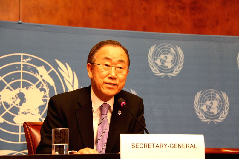 UN Secretary-General Ban Ki-moon speaks at a press conference at Palais des Nations, in Geneva, Switzerland, June 17, 2014. United Nations will strive to name a new .