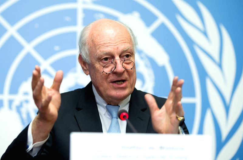 GENEVA, May 15, 2017 - UN special envoy for Syria Staffan de Mistura gestures during a press conference in Geneva, Switzerland, on May 15, 2017. Staffan de Mistura told reporters here on Monday that ...